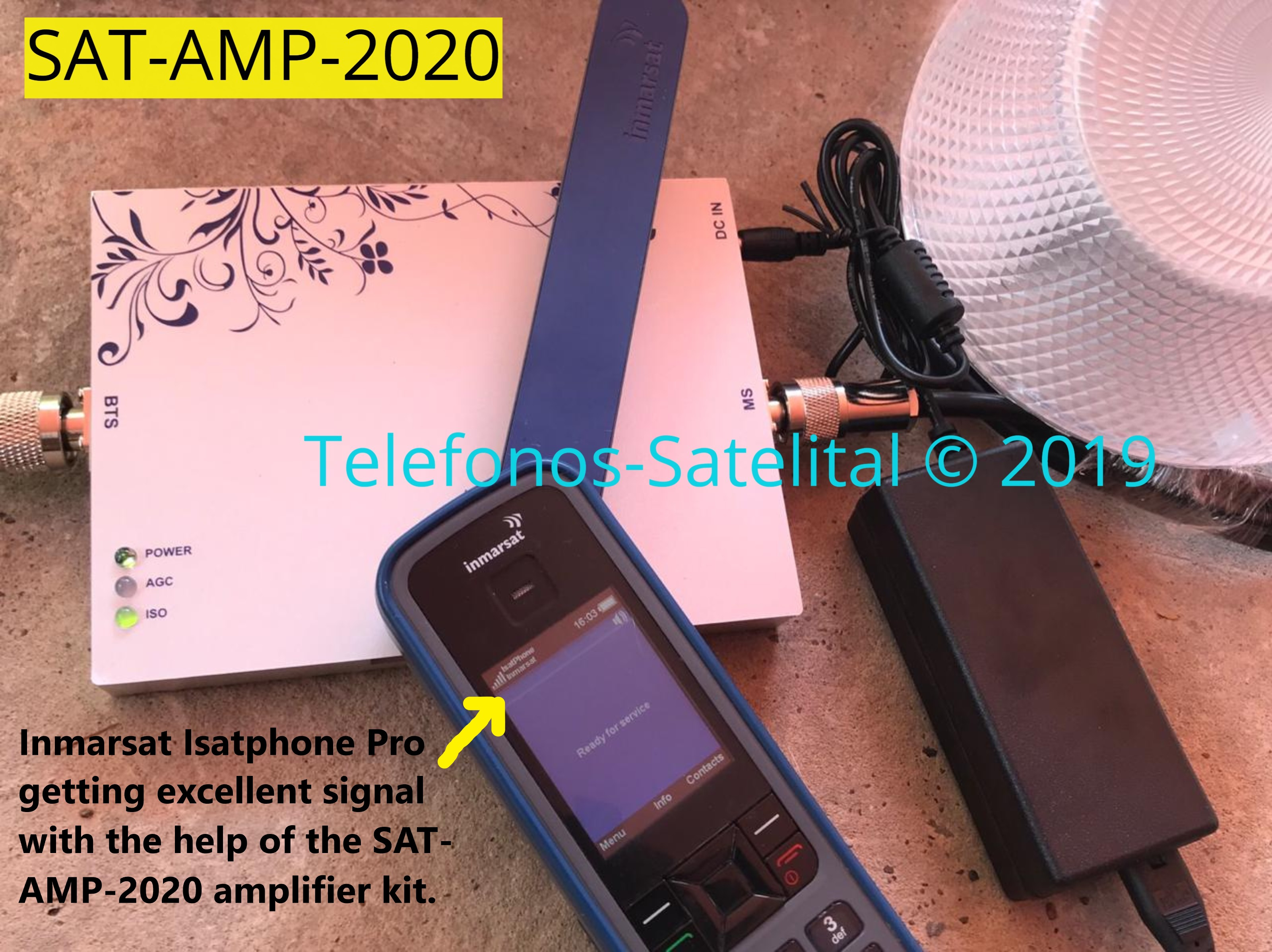 Inmarsat Isatphone Pro gets signal indoors with the help of the SAT AMP 2020 aero antenna